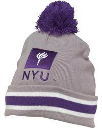 Mitchell & Ness - New York University Cuff Knit Bobble Hat Grey - Lyst
