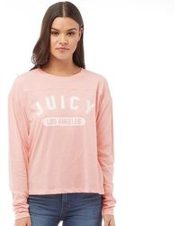Juicy Couture - Juicy By Varsity Logo Graphic T-shirt Palisades Pink/cozy Vanilla - Lyst