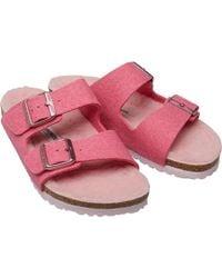 Birkenstock - Arizona Wz Wool Felt Happy Lamb Sandals Pink/rose - Lyst