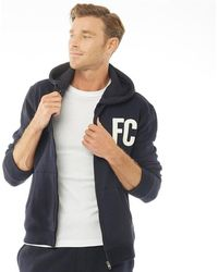French Connection - Fc Block Zip Hoody Marine/white - Lyst