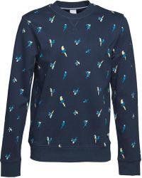 Bench - Parrot Aop Crew Neck Sweatshirt Navy - Lyst