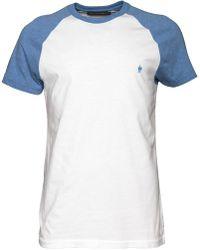 French Connection - Raglan T-shirt White/light Blue Melange - Lyst