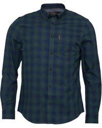 Ben Sherman - Long Sleeve Ombre Check Shirt Grass Green - Lyst