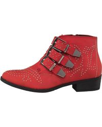 Truffle Collection - Pu Studded Triple Buckle Ankle Boots Red - Lyst