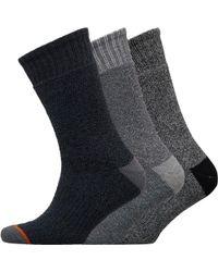 Weatherproof - Three Pack Thermal Crew Socks Grey/black - Lyst