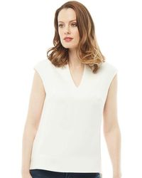Ted Baker | Paysy High Neck Long Back Panel Top Cream | Lyst