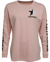 Converse - Split Star Wordmark Long Sleeve T-shirt Pink/silver - Lyst