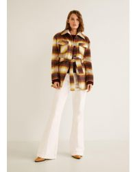 Mango - Checkered Wool-blend Coat - Lyst