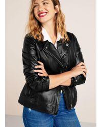Violeta by Mango - Leather Biker Jacket - Lyst
