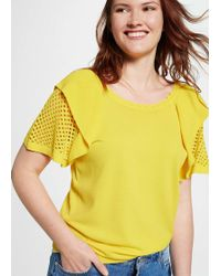 Violeta by Mango - Openwork Frills T-shirt - Lyst