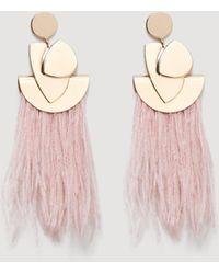 Mango - Feather Earrings - Lyst