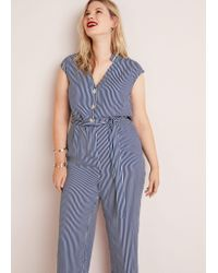 Violeta by Mango - Striped Long Jumpsuit - Lyst