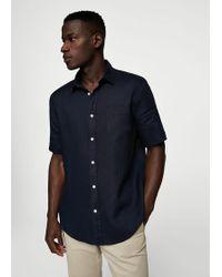 Mango - 100% Linen Short Sleeve Shirt - Lyst