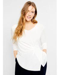 Violeta by Mango - Pleated Detail T-shirt - Lyst