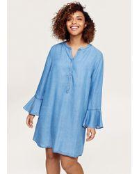 Violeta by Mango - Flared Sleeve Denim Dress - Lyst