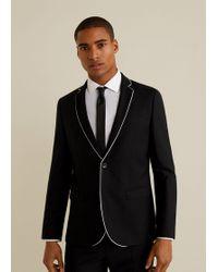 Mango - Slim-fit Contrasting Trims Tailored Blazer - Lyst