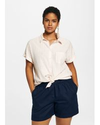 Violeta by Mango - Cotton Linen-blend Shorts - Lyst