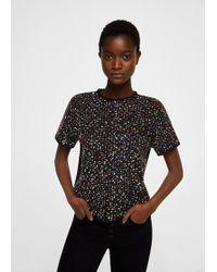 Mango - Tweed Contrasting T-shirt - Lyst