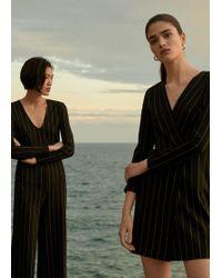 9c81f4dee56 Lyst - Mango Velvet Long Jumpsuit in Black