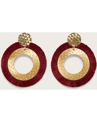 Violeta by Mango - Fringed Hoop Earrings - Lyst