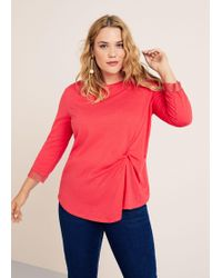 Violeta by Mango - Knotted Linen T-shirt - Lyst