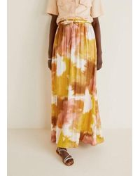 21292dd24d Mango - Tie-dye Pleated Skirt Coral Red - Lyst