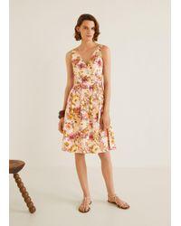5030255e736 Mango - Floral Print Linen-blend Dress - Lyst
