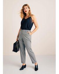 Violeta by Mango - Belt Check Trousers - Lyst