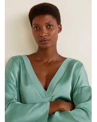 Mango - Satin V-neck T-shirt - Lyst