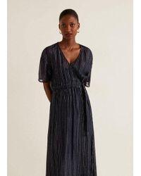 c77ebab3c8 TOPSHOP Lace Metallic Thread Pleat Maxi Dress in Blue - Lyst