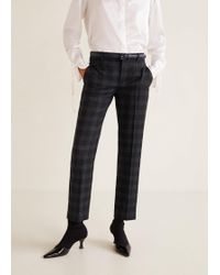 Mango - Straight Chequered Trousers - Lyst