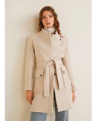 Mango - Belted Wool Coat - Lyst