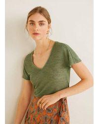 9211e978a Mango Metallic Print T-shirt in Gray - Lyst