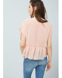 Mango - Embroidered Flowy Blouse - Lyst