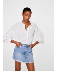 Mango - Frayed Edges Denim Skirt - Lyst