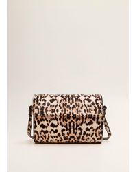 Mango - Animal Print Leather Bag - Lyst