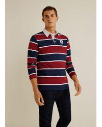 Mango - Contrasting Stripes Cotton Polo Shirt - Lyst