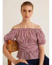 Mango - Striped Off-shoulder Top - Lyst