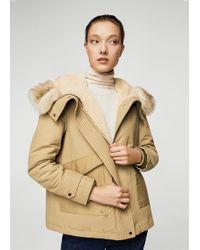 Mango - Furry Hooded Parka - Lyst