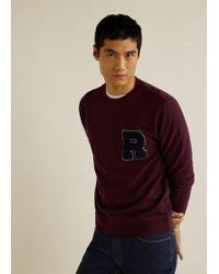 a535099a2 Mango - Textured Embroidery Sweatshirt Maroon - Lyst