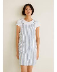 76a9ac6fbfd Mango Pocket Denim Pinafore Dress - Lyst