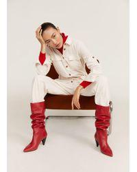 Mango - Leather High-leg Boots - Lyst