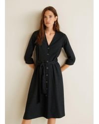 Mango - Check Bow Dress - Lyst