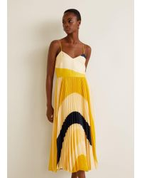 Mango - Printed Pleated Dress - Lyst