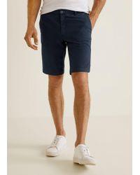 Mango - Textured Cotton-blend Bermuda Shorts - Lyst