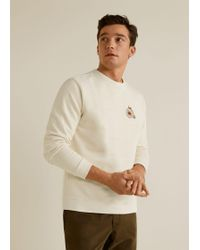 Mango - Embroidered Cotton Sweatshirt - Lyst