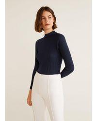Mango - High Collar Ribbed Knit Sweater - Lyst