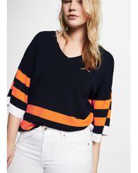 Violeta by Mango - Stripe Pattern Sweater - Lyst