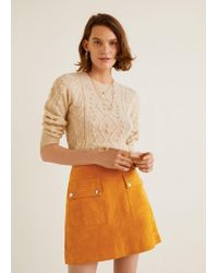 Mango - Pocketed Suede Skirt - Lyst