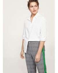 Violeta by Mango - Contrasting Trims Checked Trousers - Lyst